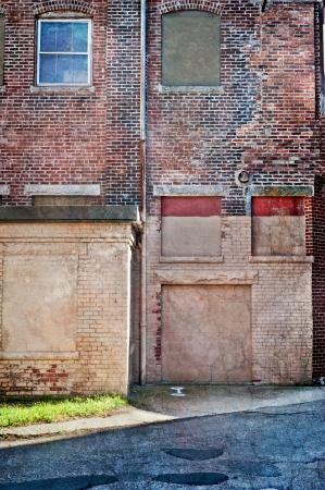 dilapidated: Dilapidated old brick building