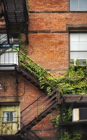 ivy wall: Fire escape on the facade of a red brick building. Stock Photo