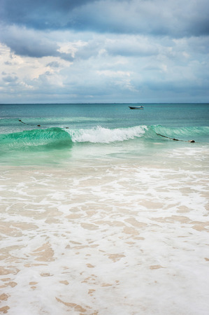 roo: Ocean scene with beautiful waves just before a storm  Stock Photo