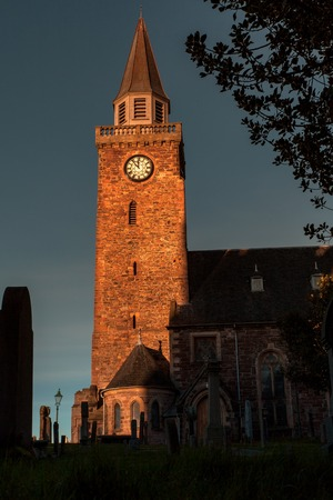 Old Church in Inverness Scotland at sunset with cemetary Stock Photo