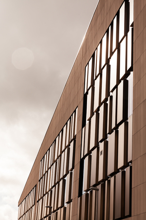A Business center with abstract architecture. glass background.