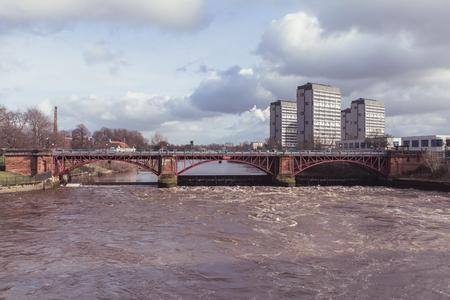 Glasgow green bridge weir on a spring afternoon in Glasgow