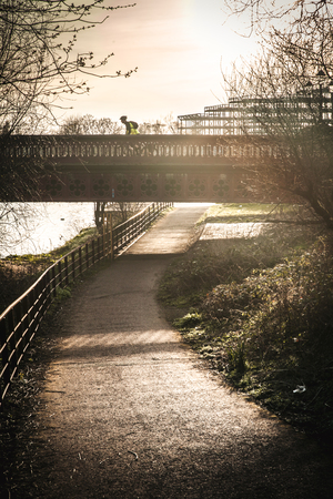 Bicycle and walking path in park Glasgow Scotland