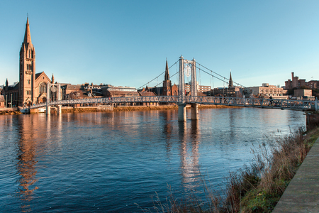 Panoramic picture of the river ness in Inverness Scotland on a sunny day