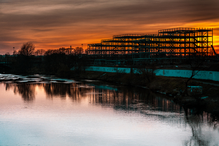 Steel frame structure on the river Clyde Glasgow Scotland