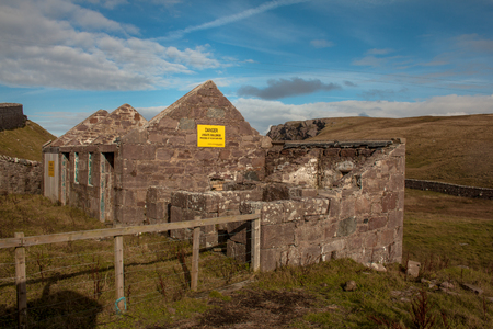 Old Building next to Stoer Lighthouse north of Lochinver in Sutherland, North West Scotland.