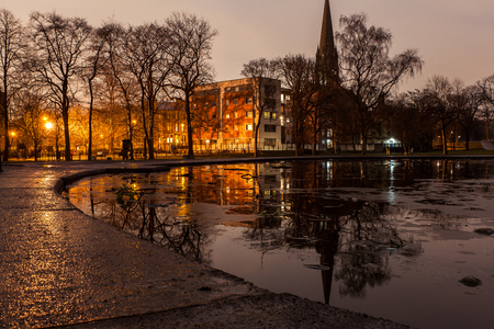Panoramic image of Queens Park in Glasgow at night in Scotland Stock Photo