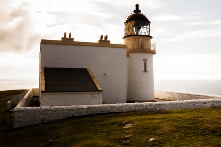 Stoer Lighthouse on Stoer Head north of Lochinver in Sutherland, North West Scotland. Stock Photo