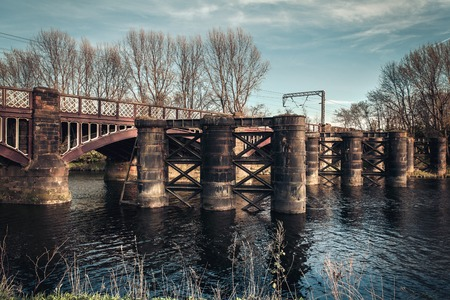 River Clyde bridge on a spring afternoon in Glasgow Stock Photo