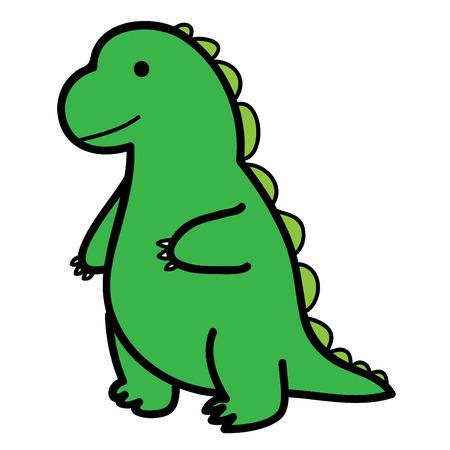 standing big green lizard in cartoon style vector Illustration