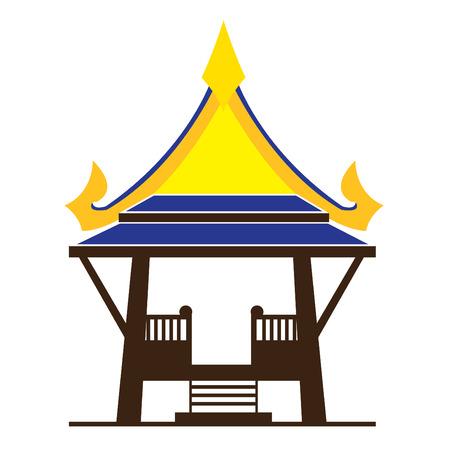 Asian gazebo in colorful vector Illustration