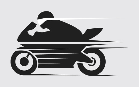 Super Speed Motorcycle in Black and white Vector