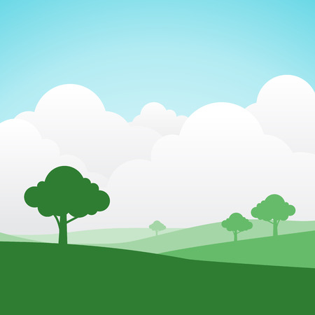 rolling landscape: simple and colorful silhouette summer landscape background for graphic design and website
