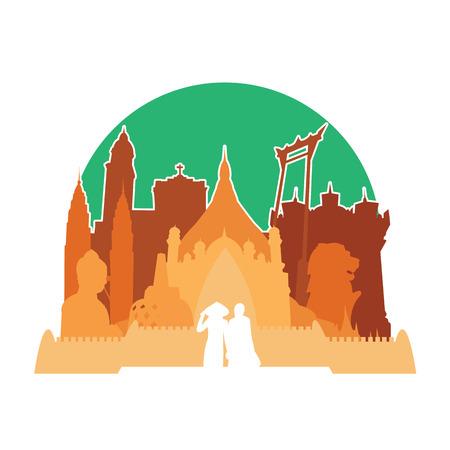 Logo van de punt van belang in Azië voor grafisch ontwerp en huisstijlen