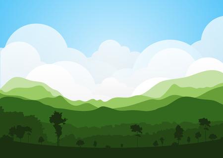 paisaje de campo: colorido silueta de fondo paisaje de verano para el diseño gráfico y web Vectores