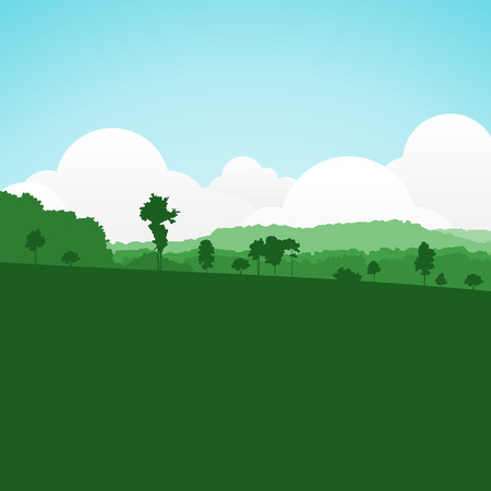 rolling landscape: colorful silhouette summer landscape background for graphic design and website