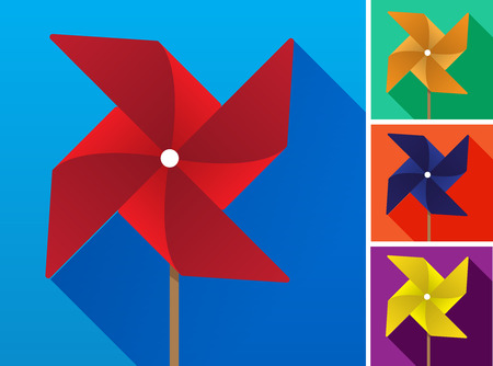 windmill toy: Multicolored toy paper windmill propeller set on backgrounds of different colors. Vector illustration Illustration