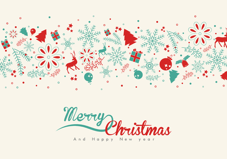 present: Christmas elements, with text and pattern background. EPS10 vector file. for graphic design