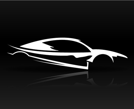 black outline: Abstract sports car Illustration