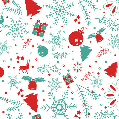 retro christmas: Christmas elements, with text and pattern background. EPS10 vector file. for graphic design