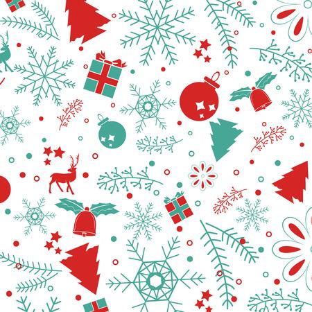 elements: Elementos de la Navidad, con el texto y el patrón de fondo. Archivo vectorial EPS10. para el diseño gráfico