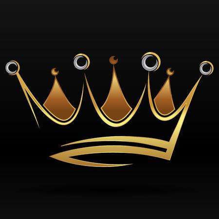 グラフィック デザインと黒い背景にロゴをゴールドの抽象的なクラウン