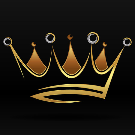 Gold abstract crown for graphic design and logo on black background Illustration