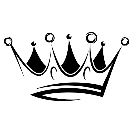 Black abstract crown for graphic design and logo on black background