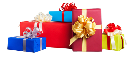 Colorful gift wrapped boxes isolated on white background Фото со стока
