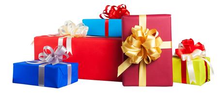 Kleurrijke geschenk verpakt dozen op een witte achtergrond Stockfoto