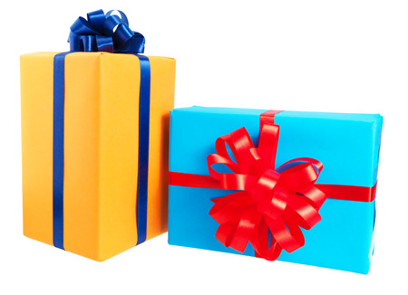 birth day: Two gift boxes wrapped in colorful paper, ribbon, bow ,Isolated on white. for anniversary, new year, birth day