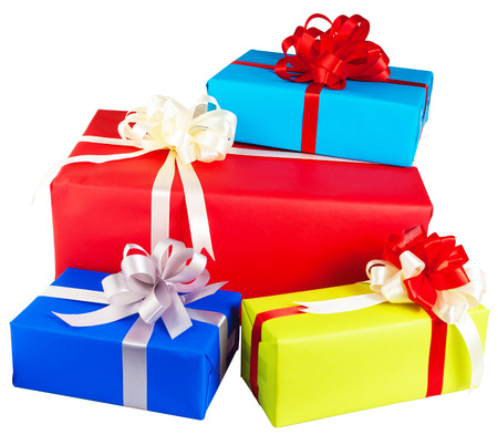birth day: Piles of gift boxes wrapped in colorful paper, ribbon, bow ,Isolated on white. for anniversary, new year, birth day