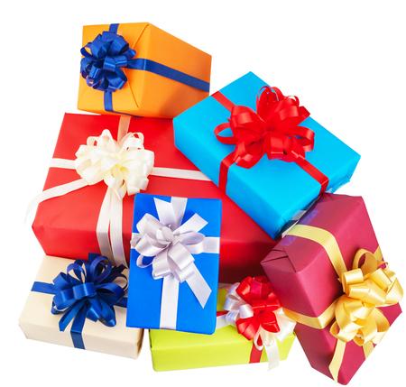Stapel van kleurrijke geschenken doos isoleren op een witte achtergrond Stockfoto