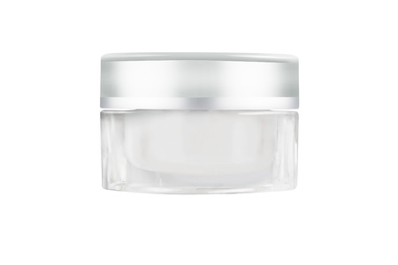 Blank white facial cream jar isolate on white background