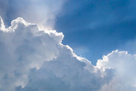 cumulonimbus: a big and fluffy cumulonimbus cloud in the blue sky Stock Photo