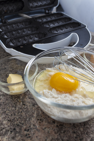 needed: preparation waffles. All ingredients needed for waffles. Stock Photo