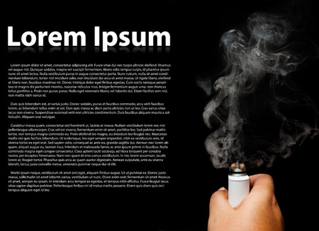 rebuild: Asian human hand holding rebuild able atomizer electronic cigarette. top view. black color background. with copy space