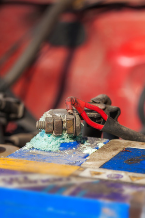 corrosion: Blue color corrosion on car battery terminals