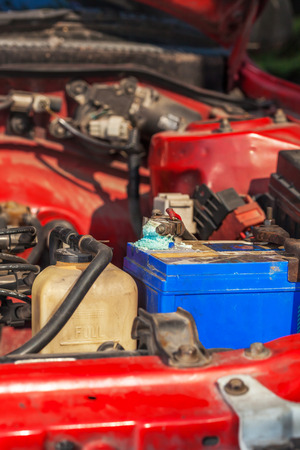 build up: Corrosion build up on car battery terminals
