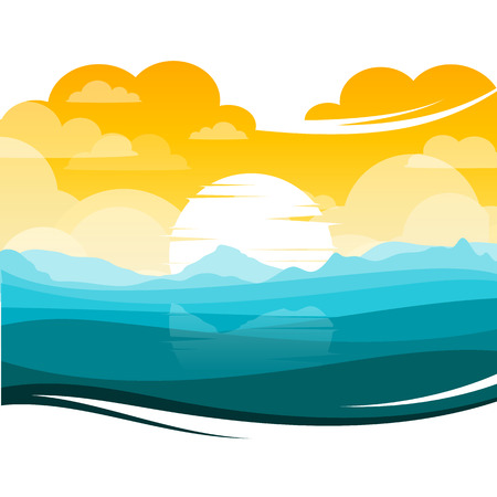 beautiful landscape: colorful silhouette landscape of SunsetSunrise ocean for graphic design and website Illustration