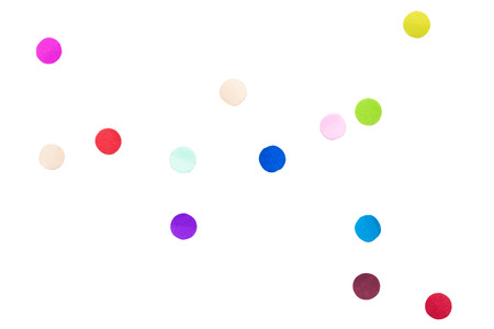 Colorful Confetti in front on isolated White Background Stock Photo