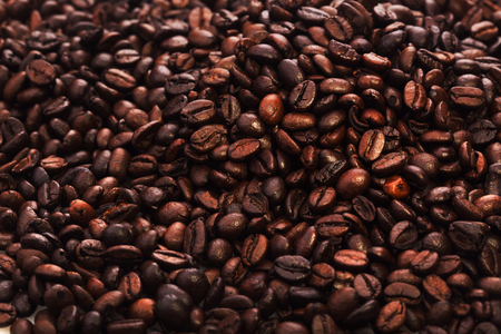 flavored: roasted coffee beans, can be used as a  texture - the beautiful food background