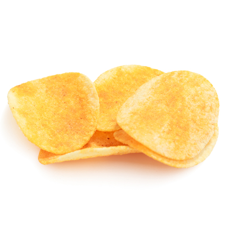 close up of hot and spicy flavor crispy potato chips on isolated with background with clipping path