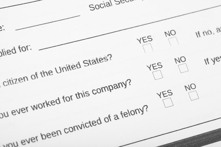 Close up of personal information application. Focus on the section citizen of United States and check box