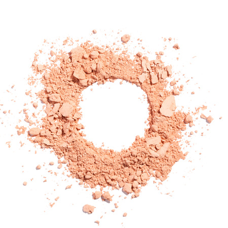 Cosmetic powder beige color crushed blush palette isolated on white Standard-Bild