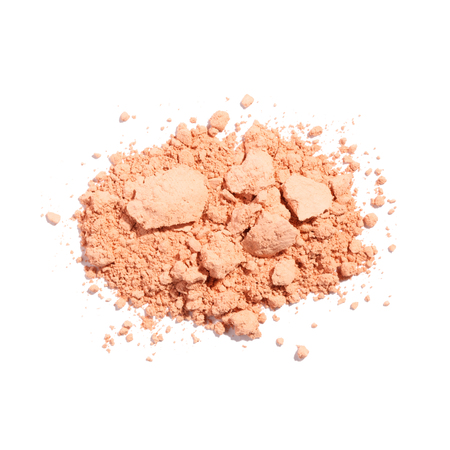 heap of  beige color crushed make up powder. isolated on white background with clipping path. ready to use for design 版權商用圖片
