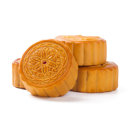Mid-Autumn Festival mooncake isolated on white background with clipping path