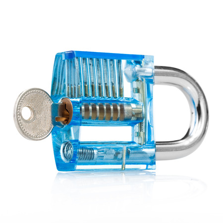 Blue color transparent padlock and keys show mechanics how to lock. studio isolated on white background with clipping path