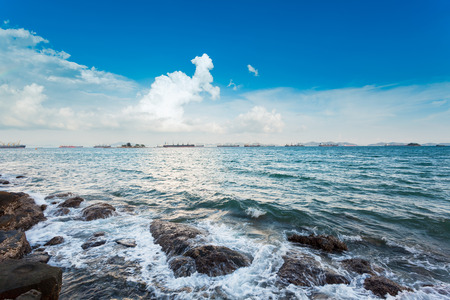 Amazing view of sea coast with cloud sky as a background. 版權商用圖片