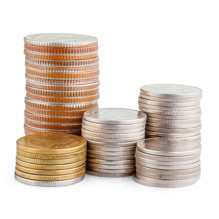 coin stack isolated on white with clipping path